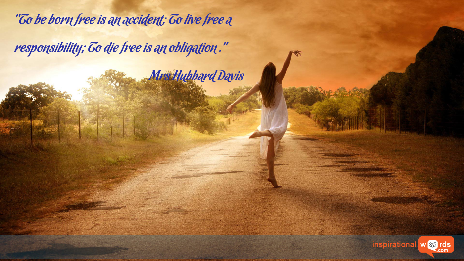 Inspirational Wallpaper Quote by Mrs Hubbard Davis