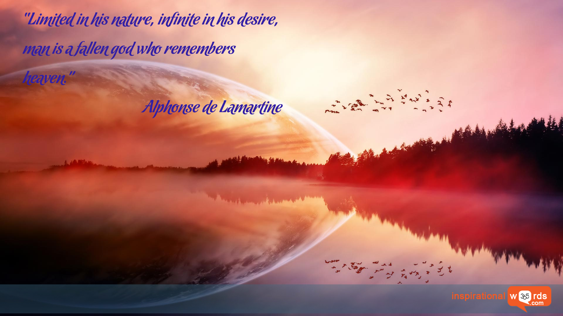 Inspirational Wallpaper Quote by Alphonse de Lamartine